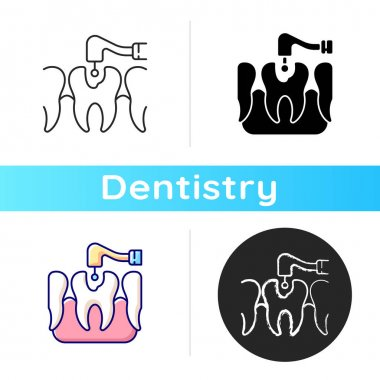 Ozone dentistry icon. Using ozone for professional dental treatment. Instruments for dental treatment. Stomatology. Linear black and RGB color styles. Isolated vector illustrations icon