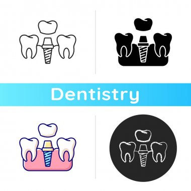 Dental implants procedure icon. Tooth recovery process. Dental surgety. Proffesional cosmetics stomatology. Linear black and RGB color styles. Isolated vector illustrations icon