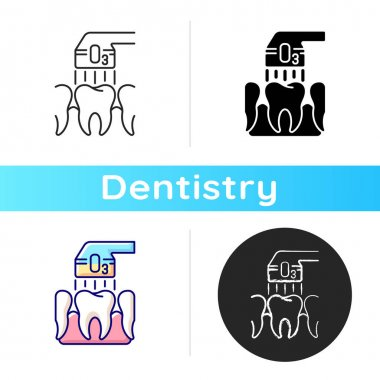 Ozone dentistry, RGB, color, icon. Professional stomatology occupation. Tooth care. Special tools using, dental, treatment. Linear black and RGB color styles. Isolated vector illustrations icon