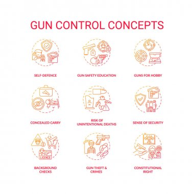 Gun control red gradient concept icons set. Self defense. Safety education. Concealed carry. Firearm regulation idea thin line RGB color illustrations. Vector isolated outline drawings icon