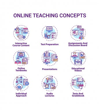 Online teaching concept icons set. Interactive course content. Online learning textbooks and presentations idea thin line RGB color illustrations. Vector isolated outline drawings. Editable stroke icon