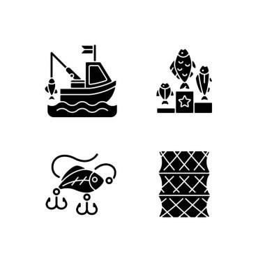Fishing gear black glyph icons set on white space. Boat fishing. Variety of plastic baits, wobbler. Fishering from boat, commercial fishing. Silhouette symbols. Vector isolated illustration icon