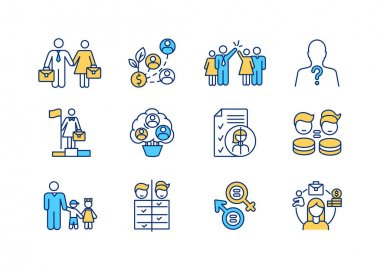 Gender issues RGB color icons set. Woman and man equality. Female employee fair treatment. Working wife and husband. Career growth. Company staff. Earning money. Isolated vector illustrations icon