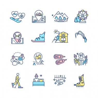 Winter vacations RGB color icons set. Flight to romantic couple resort. European winter village. Frozen mountain lake. Wintertime wonderland. Christmastime holiday. Isolated vector illustrations icon