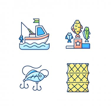 Fishing gear RGB color icons set. Boat fishing. Hobby and leisure activity. Variety of plastic baits, wobbler. Fishering from boat, commercial fishing. Isolated vector illustrations icon