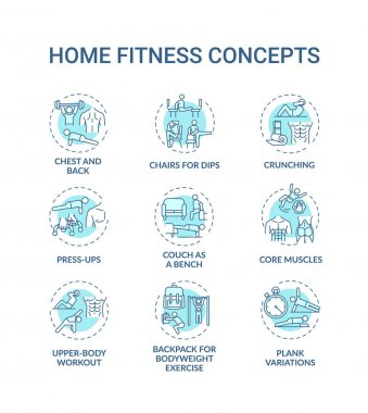 Home fitness concept icons set. Physical training session idea thin line RGB color illustrations. Press-ups. Upper-body workout. Press-up. Crunching. Vector isolated outline drawings. Editable stroke icon