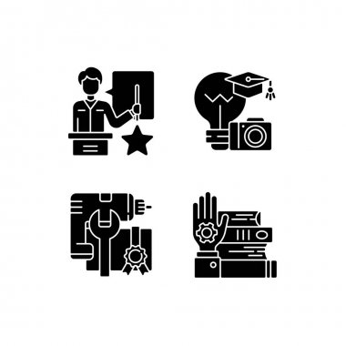 Knowledgeable presenter black glyph icons set on white space. Photography workshop. Workshop icons. Mastery development. On-demand webinar . Silhouette symbols. Vector isolated illustration icon