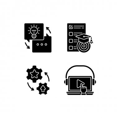 Workshop black glyph icons set on white space. On-demand webinar. Goals for study. List of learning goals. Leveling up practical skills. Silhouette symbols. Vector isolated illustration icon