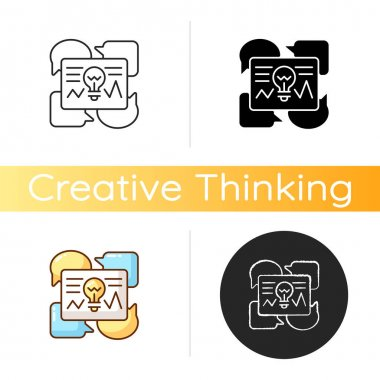 Communicating ideas icon. Critical thinking idea. Optimizing ways of communication. Creative idear for interactions. Linear black and RGB color styles. Isolated vector illustrations icon