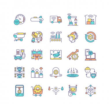 Industrial IoT RGB color icons set. Manufacturing automation. Self-driving car. Factory with no human labor. Revenue potential. M2M technology. Wireless connection. Isolated vector illustrations icon