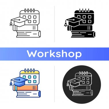 Bootcamp icon. Long-term intensive training to improve your own professional skills. Paid trainings. Game workshop. Linear black and RGB color styles. Isolated vector illustrations icon