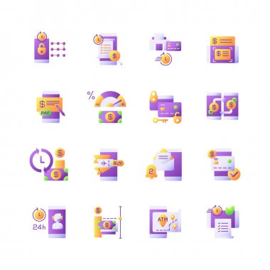 Mobile banking service vector flat color icon set. E wallet personal account management. Transfer funds. Cartoon style clip art for mobile app pack. Isolated RGB illustration bundle icon