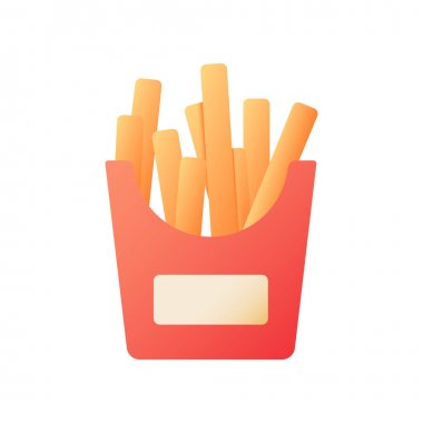 Fried potato sticks vector flat color icon. French fries for take away. Take out order of junk food. Fast delivery. Cartoon style clip art for mobile app. Isolated RGB illustration icon
