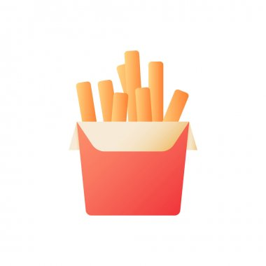 Big box of french fries vector flat color icon. Fried potatoes. Cafe menu order. Dinner take out. Fast food delivery. Cartoon style clip art for mobile app. Isolated RGB illustration icon