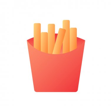 French fries vector flat color icon. Fried potatoes in carton box. Take out meal. Take away menu. Fast food delivery. Cartoon style clip art for mobile app. Isolated RGB illustration icon