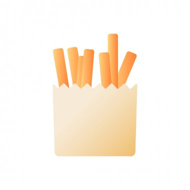 Fries vector flat color icon. Fried potatoes in paper package. American cafe menu. Take away, take out meal. Fast food delivery. Cartoon style clip art for mobile app. Isolated RGB illustration icon