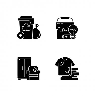 Garbage disposal black glyph icons set on white space. Residential waste collection. Solid materials. Bulky refuse. Fashion, textile industry refuse. Silhouette symbols. Vector isolated illustration icon