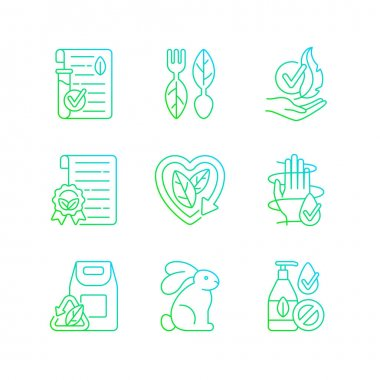 Natural cosmetics gradient linear vector icons set. Cruelty free. Dermatologically tested treatment. Thin line contour symbols bundle. Isolated vector outline illustrations collection icon