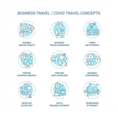 Business travel during coronavirus pandemic concept icons set. Quarantine measures idea thin line RGB color illustrations. Additional safety measures. Vector isolated outline drawings. Editable stroke icon