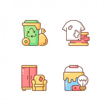 Garbage disposal RGB color icons set. Residential waste collection. Solid materials. Bulky refuse. Fashion, textile industry refuse. Additional disposal techniques. Isolated vector illustrations icon