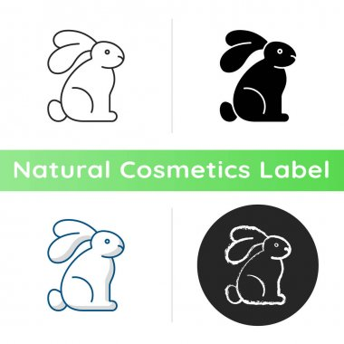 Cruelty free icon. Creation of cosmetics without testing on animals. Manifestation of humanity. Animal rights movement. Linear black and RGB color styles. Isolated vector illustrations icon
