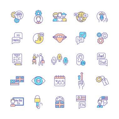 Language acquisition RGB color icons set. Cultural diversity. Language proficiency. Exam preparation. Grammar improvement. Speaking fluency. British, American English. Isolated vector illustrations icon