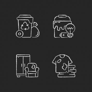 Garbage disposal chalk white icons set on black background. Residential waste collection. Solid materials. Bulky refuse. Fashion, textile industry refuse. Isolated vector chalkboard illustrations icon