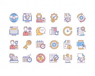 Contract management RGB color icons set. Contract management benefits. Anticipate business needs. Intellectual property agreement. Collecting digital signatures. Isolated vector illustrations icon