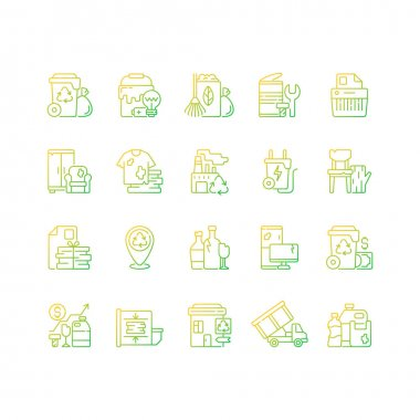 Waste management gradient linear vector icons set. Residential waste collection. Paper shredding. Grass clippings. Thin line contour symbols bundle. Isolated vector outline illustrations collection icon