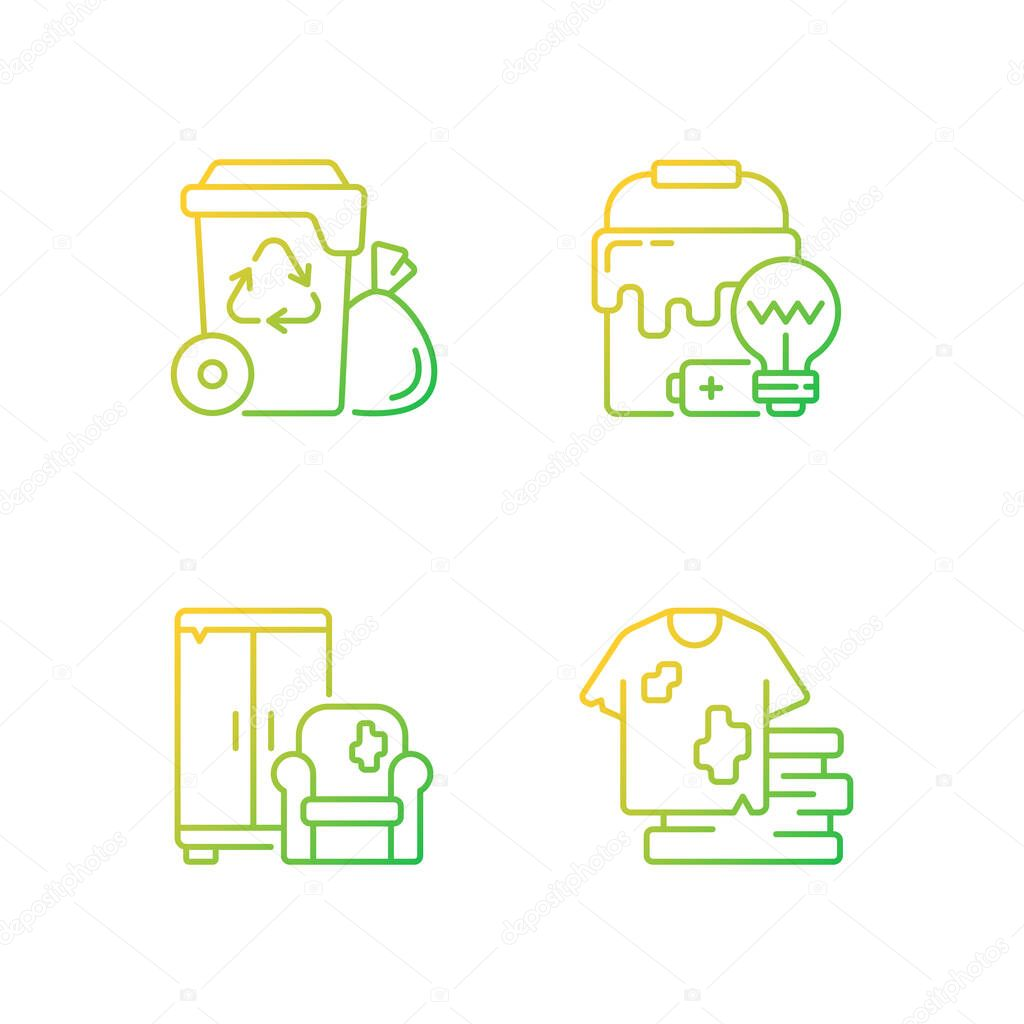Garbage disposal gradient linear vector icons set icon