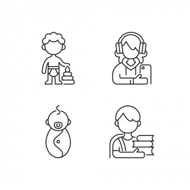 Aging process linear icons set. Preschooler. Female teenager. Male newborn. Schoolboy. Adolescent years. Customizable thin line contour symbols. Isolated vector outline illustrations. Editable stroke icon