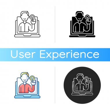Interactive content strategy sign icon. Engaging participants in activity. User experience. Participation in page content. Linear black and RGB color styles. Isolated vector illustrations icon