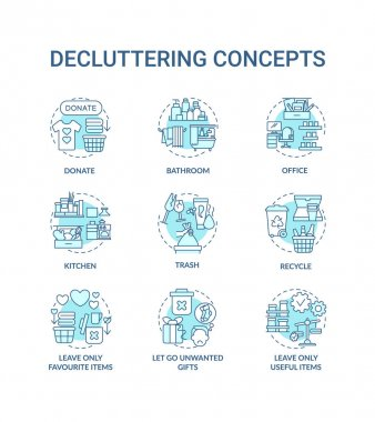 Decluttering concept icons set. Trash and recycling idea thin line RGB color illustrations. Letting go unwanted presents. Donation. Vector isolated outline drawings. Editable stroke icon