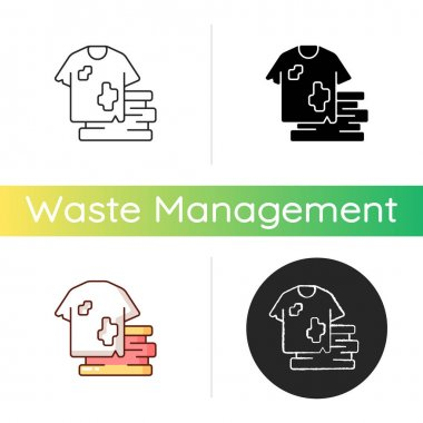 Textile waste icon. Clothing, footwear. Fashion and textile industry refuse. Post-consumer waste. Clothing production. Linear black and RGB color styles. Isolated vector illustrations icon