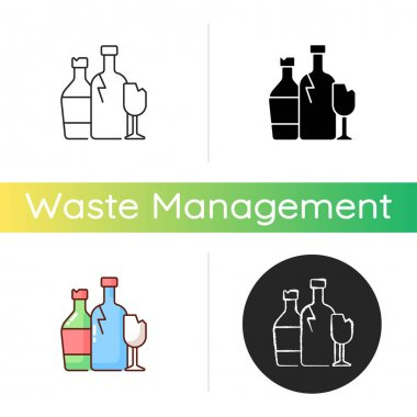 Glass recycling icon. Waste glass processing into usable products. Wine and soft drink bottles. Jars for food, cosmetics. Linear black and RGB color styles. Isolated vector illustrations icon