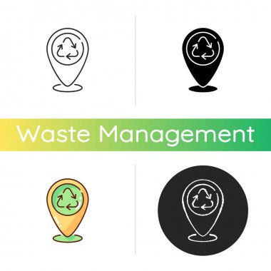 Dropping off locations icon. Place with collection bins. Landfill and recycling centers. Drop-off hard-to-recycle waste. Linear black and RGB color styles. Isolated vector illustrations icon