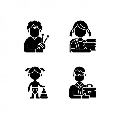 Aging process black glyph icons set on white space. Elderly woman. Schoolgirl. Female toddler. Middle-aged man. Old pensioner. Elementary education. Silhouette symbols. Vector isolated illustration icon