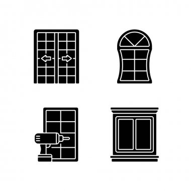 Replacement door opportunity black glyph icons set on white space. Patio doors. Unique styles and features. Home improvement. Decorative trim. Silhouette symbols. Vector isolated illustration icon