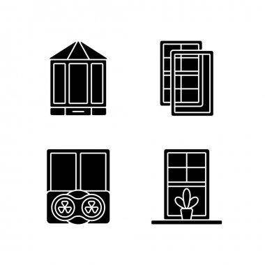 Doors replacement service black glyph icons set on white space. Bay and bow windows. Extra wind protection. Temperatures maintenance. Windowsills. Silhouette symbols. Vector isolated illustration icon