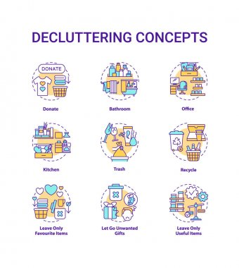 Decluttering concept icons set. Donate and recycle idea thin line RGB color illustrations. House and apartment. Leave necessary things. Vector isolated outline drawings. Editable stroke icon