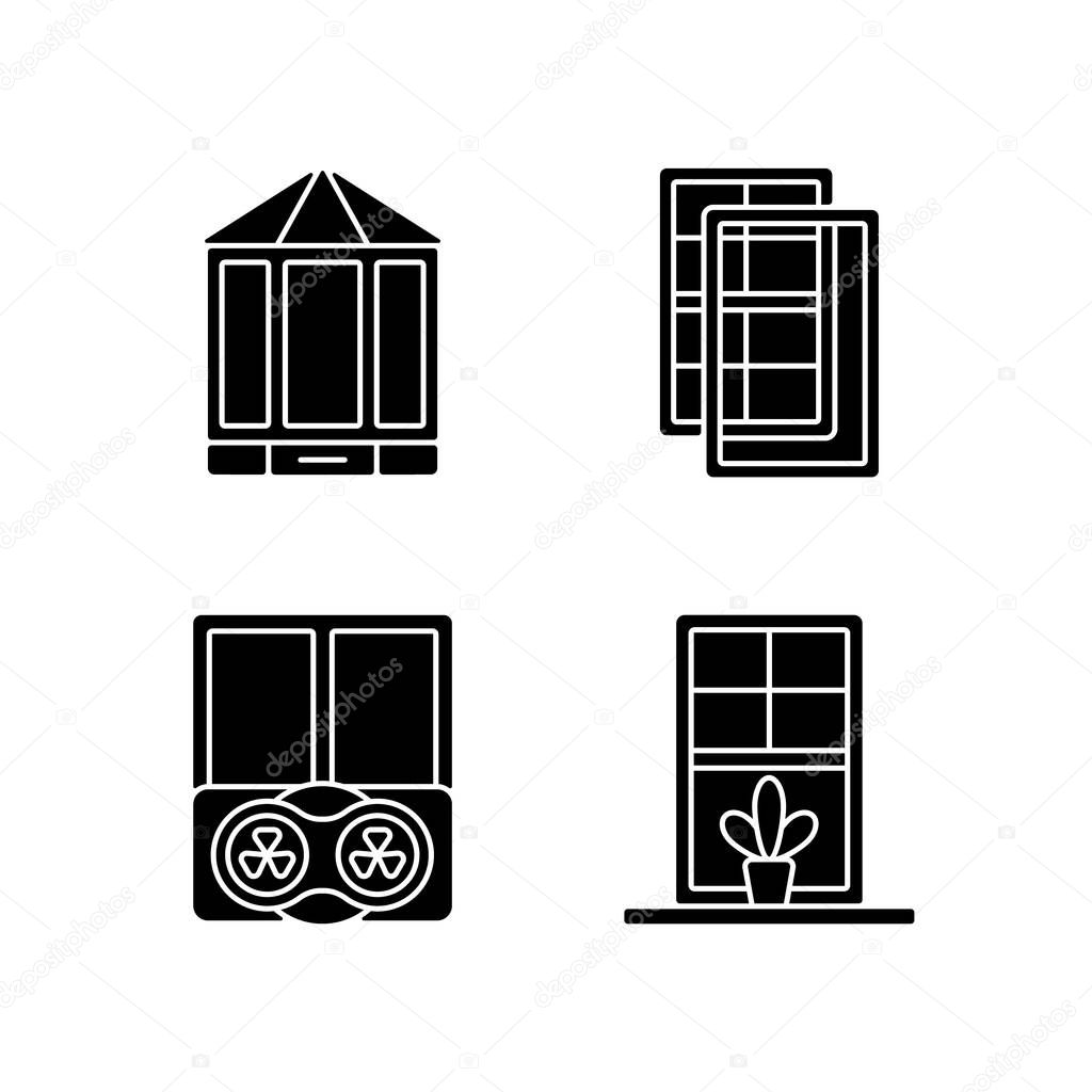 Doors replacement service black glyph icons set on white space icon