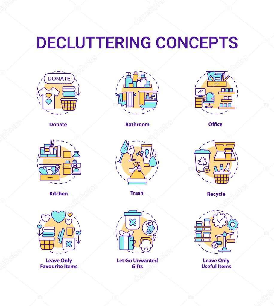 Decluttering concept icons set icon