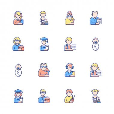 Different age and gender groups RGB color icons set. Aging process. Child development. Adolescent years. Teenager. Senior citizen. Middle-aged person. Early adulthood. Isolated vector illustrations icon
