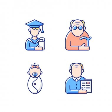 Aging process RGB color icons set. Male student. Pensioner. Early adulthood. Baby phase. Old man. Infancy development. Senior citizen. Pursuing education. Old age. Isolated vector illustrations icon