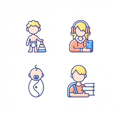 Aging process RGB color icons set. Preschooler. Female teenager. Male newborn. Schoolboy. 1-2 years old boy. Adolescent years. Baby phase. Child development. Isolated vector illustrations icon