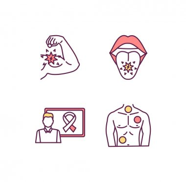 Oncology RGB color icons set. Biceps muscle metastasis. Cancer-related awareness ribbon. Tumor development. Oropharyngeal, oral cavity cancer. Benign, malignant tumors. Isolated vector illustrations icon