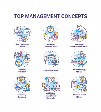 Top management concept icons set. Managing stakeholders demands. Chief executive manager. Organization idea thin line RGB color illustrations. Vector isolated outline drawings. Editable stroke icon