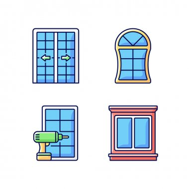 Replacement door opportunity RGB color icons set. Patio doors. Unique styles, features. Home improvement. Decorative trim. Architecture and construction. Special shapes. Isolated vector illustrations icon
