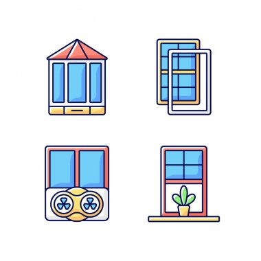 Doors replacement service RGB color icons set. Bay and bow windows. Extra wind protection. Temperatures maintenance. Windowsills. Extending beyond exterior wall. Isolated vector illustrations icon
