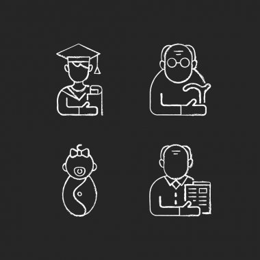 Aging process chalk white icons set on black background. Male student. Pensioner. Early adulthood. Baby phase. Old man. Infancy development. Senior citizen. Isolated vector chalkboard illustrations icon